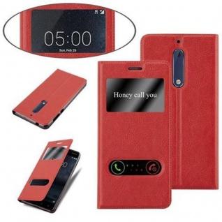 Cadorabo Hülle für Nokia 5 2017 in SAFRAN ROT - Handyhülle mit Magnetverschluss, Standfunktion und 2 Sichtfenstern - Case Cover Schutzhülle Etui Tasche Book Klapp Style - Vorschau 4