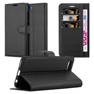Cadorabo Hülle für Honor 10 VIEW in PHANTOM SCHWARZ Handyhülle mit Magnetverschluss, Standfunktion und Kartenfach Case Cover Schutzhülle Etui Tasche Book Klapp Style