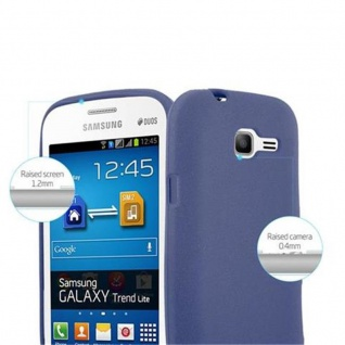 Cadorabo Hülle für Samsung Galaxy TREND LITE in FROST DUNKEL BLAU - Handyhülle aus flexiblem TPU Silikon - Silikonhülle Schutzhülle Ultra Slim Soft Back Cover Case Bumper - Vorschau 2