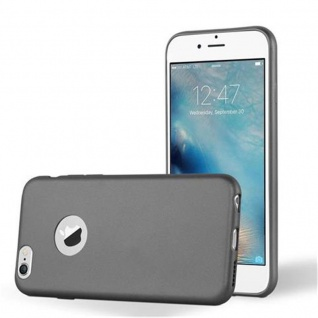 Cadorabo Hülle für Apple iPhone 6 PLUS / iPhone 6S PLUS - Hülle in METALLIC GRAU ? Handyhülle aus TPU Silikon im Matt Metallic Design - Ultra Slim Soft Backcover Case Bumper