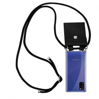 Cadorabo Handy Kette für Samsung Galaxy A41 in SCHWARZ Silikon Necklace Umhänge Hülle mit Silber Ringen, Kordel Band Schnur und abnehmbarem Etui Schutzhülle