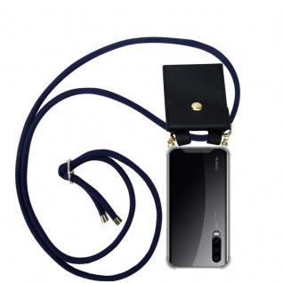 Cadorabo Handy Kette für Huawei P30 in TIEF BLAU - Silikon Necklace Umhänge Hülle mit Gold Ringen, Kordel Band Schnur und abnehmbarem Etui ? Schutzhülle
