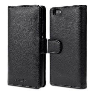 Cadorabo Hülle für Huawei P8 LITE 2015 in OXID SCHWARZ - Handyhülle mit Magnetverschluss und 3 Kartenfächern - Case Cover Schutzhülle Etui Tasche Book Klapp Style - Vorschau 1