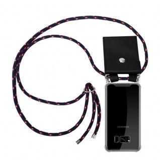 Cadorabo Handy Kette für Samsung Galaxy S8 PLUS in BLAU ROT WEISS GEPUNKTET - Silikon Necklace Umhänge Hülle mit Silber Ringen, Kordel Band Schnur und abnehmbarem Etui - Schutzhülle