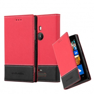 Cadorabo Hülle für Nokia Lumia 925 in ROT SCHWARZ ? Handyhülle mit Magnetverschluss, Standfunktion und Kartenfach ? Case Cover Schutzhülle Etui Tasche Book Klapp Style