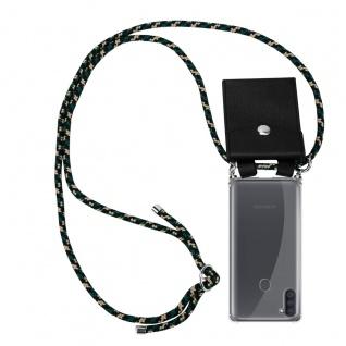 Cadorabo Handy Kette für Samsung Galaxy M11 in CAMOUFLAGE Silikon Necklace Umhänge Hülle mit Silber Ringen, Kordel Band Schnur und abnehmbarem Etui Schutzhülle