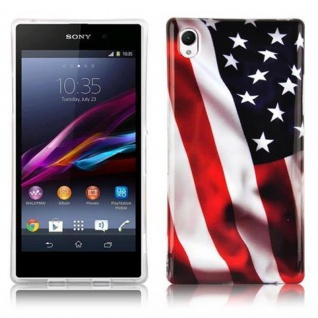 Cadorabo - Hard Cover für Sony Xperia Z1 - Case Cover Schutzhülle Bumper im Design: STARS AND STRIPES