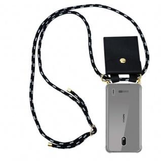 Cadorabo Handy Kette für Nokia 2.2 in SCHWARZ SILBER - Silikon Necklace Umhänge Hülle mit Gold Ringen, Kordel Band Schnur und abnehmbarem Etui ? Schutzhülle