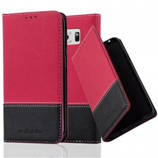 Cadorabo Hülle für Samsung Galaxy S6 EDGE in ROT SCHWARZ ? Handyhülle mit Magnetverschluss, Standfunktion und Kartenfach ? Case Cover Schutzhülle Etui Tasche Book Klapp Style
