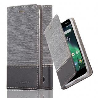Cadorabo Hülle für Nokia 2 2017 in GRAU SCHWARZ - Handyhülle mit Magnetverschluss, Standfunktion und Kartenfach - Case Cover Schutzhülle Etui Tasche Book Klapp Style
