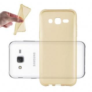Cadorabo Hülle für Samsung Galaxy J3 2015 in TRANSPARENT GOLD - Handyhülle aus flexiblem TPU Silikon - Silikonhülle Schutzhülle Ultra Slim Soft Back Cover Case Bumper