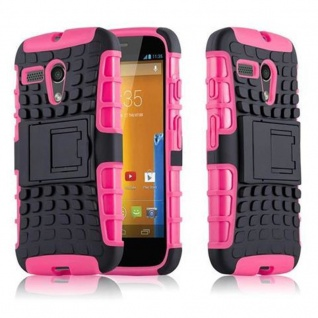 Cadorabo Hülle für Motorola G-DVX - Hülle in SCHWARZ PINK ? Handyhülle mit Standfunktion - Hard Case TPU Silikon Schutzhülle für Hybrid Cover im Outdoor Heavy Duty Design