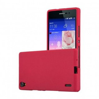 Cadorabo Hülle für Huawei P7 in FROST ROT - Handyhülle aus flexiblem TPU Silikon - Silikonhülle Schutzhülle Ultra Slim Soft Back Cover Case Bumper