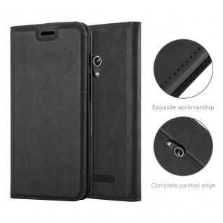 Cadorabo Hülle für Asus ZenFone 5 2014 in NACHT SCHWARZ - Handyhülle mit Magnetverschluss, Standfunktion und Kartenfach - Case Cover Schutzhülle Etui Tasche Book Klapp Style - Vorschau 2