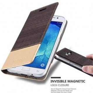 Cadorabo Hülle für Samsung Galaxy J5 2015 in ANTRAZIT GOLD - Handyhülle mit Magnetverschluss, Standfunktion und Kartenfach - Case Cover Schutzhülle Etui Tasche Book Klapp Style