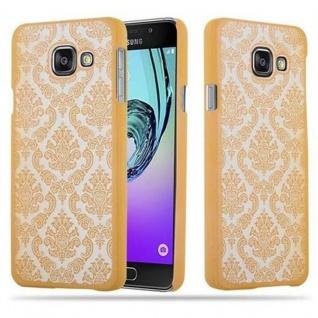 Samsung Galaxy A3 2016 Hardcase Hülle in GOLD von Cadorabo - Blumen Paisley Henna Design Schutzhülle ? Handyhülle Bumper Back Case Cover