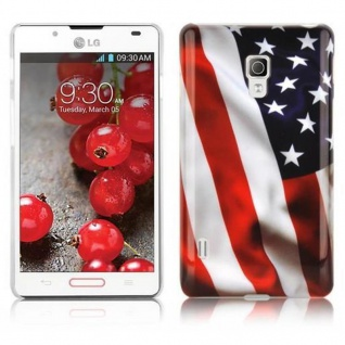 Cadorabo - Hard Cover für LG OPTIMUS L7 II - Case Cover Schutzhülle Bumper im Design: STARS AND STRIPES