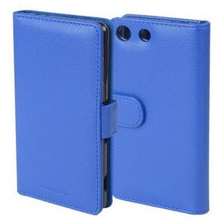 Cadorabo Hülle für Sony Xperia M5 in NEPTUN BLAU Handyhülle mit Magnetverschluss und 3 Kartenfächern Case Cover Schutzhülle Etui Tasche Book Klapp Style