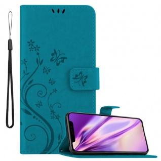 Cadorabo Hülle für Apple iPhone 11 PRO MAX (XI PRO MAX) in FLORAL BLAU Handyhülle im Blumen Design mit Magnetverschluss, Standfunktion und 3 Kartenfächern Case Cover Schutzhülle Etui Tasche