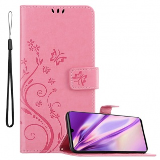 Cadorabo Hülle für Huawei P30 in FLORAL ROSA Handyhülle im Blumen Design mit Magnetverschluss, Standfunktion und 3 Kartenfächern Case Cover Schutzhülle Etui Tasche