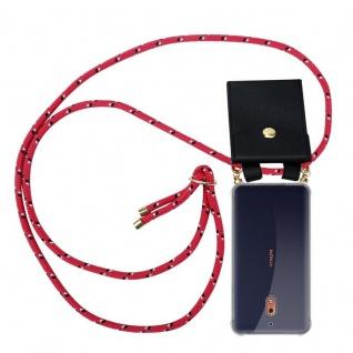 Cadorabo Handy Kette für Nokia 2.1 2018 in PINK SCHWARZ WEISS GEPUNKTET - Silikon Necklace Umhänge Hülle mit Gold Ringen, Kordel Band Schnur und abnehmbarem Etui ? Schutzhülle