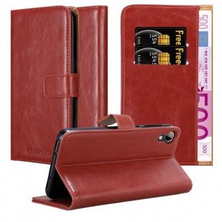 Cadorabo Hülle für HTC Desire 10 Lifestyle / Desire 825 in WEIN ROT ? Handyhülle mit Magnetverschluss, Standfunktion und Kartenfach ? Case Cover Schutzhülle Etui Tasche Book Klapp Style