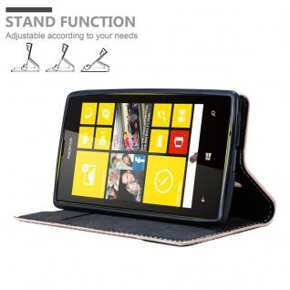 Cadorabo Hülle für Nokia Lumia 520 in ROSÉ GOLD SCHWARZ ? Handyhülle mit Magnetverschluss, Standfunktion und Kartenfach ? Case Cover Schutzhülle Etui Tasche Book Klapp Style - Vorschau 4
