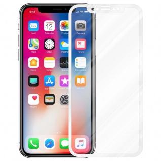 Cadorabo Vollbild Panzer Folie für Apple iPhone X / XS - Schutzfolie in TRANSPARENT mit WEISS - Gehärtetes (Tempered) Display-Schutzglas in 9H Härte mit 3D Touch Kompatibilität - Vorschau 2