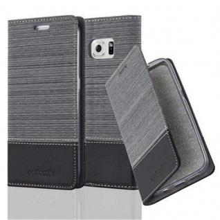 Cadorabo Hülle für Samsung Galaxy S6 EDGE in GRAU SCHWARZ - Handyhülle mit Magnetverschluss, Standfunktion und Kartenfach - Case Cover Schutzhülle Etui Tasche Book Klapp Style