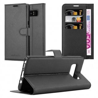 Cadorabo Hülle für Samsung Galaxy NOTE 8 in PHANTOM SCHWARZ Handyhülle mit Magnetverschluss, Standfunktion und Kartenfach Case Cover Schutzhülle Etui Tasche Book Klapp Style