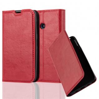 Cadorabo Hülle für Nokia Lumia 530 in APFEL ROT - Handyhülle mit Magnetverschluss, Standfunktion und Kartenfach - Case Cover Schutzhülle Etui Tasche Book Klapp Style