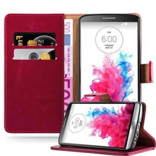 Cadorabo Hülle für LG G3 in WEIN ROT - Handyhülle mit Magnetverschluss, Standfunktion und Kartenfach - Case Cover Schutzhülle Etui Tasche Book Klapp Style