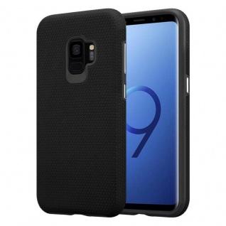 Cadorabo Hülle für Samsung Galaxy S9 in DAHLIEN SCHWARZ ? Outdoor Handyhülle mit extra Grip Anti Rutsch Oberfläche im Triangle Design aus Silikon und Kunststoff - Schutzhülle Hybrid Hardcase Back Case - Vorschau 1
