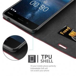 Cadorabo Hülle für Nokia 8 2017 in APFEL ROT - Handyhülle mit Magnetverschluss, Standfunktion und Kartenfach - Case Cover Schutzhülle Etui Tasche Book Klapp Style - Vorschau 2