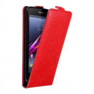 Cadorabo Hülle für Sony Xperia Z1 in APFEL ROT - Handyhülle im Flip Design mit unsichtbarem Magnetverschluss - Case Cover Schutzhülle Etui Tasche Book Klapp Style
