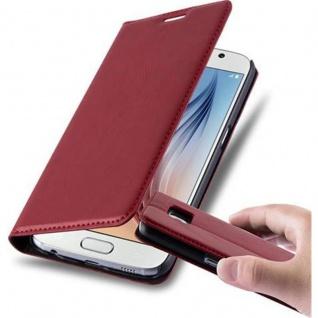 Cadorabo Hülle für Samsung Galaxy S6 in APFEL ROT Handyhülle mit Magnetverschluss, Standfunktion und Kartenfach Case Cover Schutzhülle Etui Tasche Book Klapp Style