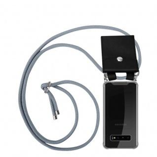 Cadorabo Handy Kette für Samsung Galaxy S10 PLUS in SILBER GRAU - Silikon Necklace Umhänge Hülle mit Silber Ringen, Kordel Band Schnur und abnehmbarem Etui - Schutzhülle