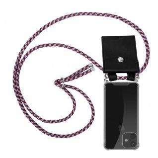 Cadorabo Handy Kette für Apple iPhone 11 (XI) in ROT WEISS - Silikon Necklace Umhänge Hülle mit Silber Ringen, Kordel Band Schnur und abnehmbarem Etui - Schutzhülle