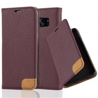 Cadorabo Hülle für Samsung Galaxy S7 EDGE - Hülle in HOLUNDER LILA ? Handyhülle mit Standfunktion, Kartenfach und Textil-Patch - Case Cover Schutzhülle Etui Tasche Book Klapp Style