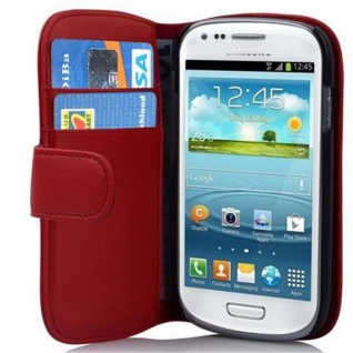 Cadorabo Hülle für Samsung Galaxy S3 MINI - Hülle in CHILI ROT ? Handyhülle mit Kartenfach aus glattem Kunstleder - Case Cover Schutzhülle Etui Tasche Book Klapp Style