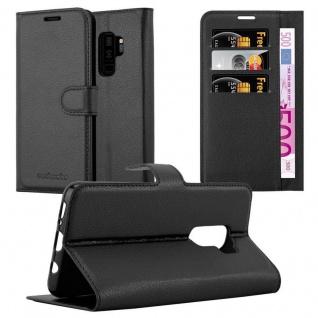Cadorabo Hülle für Samsung Galaxy S9 PLUS in PHANTOM SCHWARZ - Handyhülle mit Magnetverschluss, Standfunktion und Kartenfach - Case Cover Schutzhülle Etui Tasche Book Klapp Style
