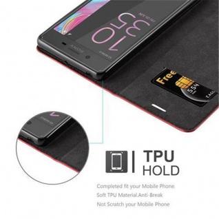 Cadorabo Hülle für Sony Xperia X in APFEL ROT Handyhülle mit Magnetverschluss, Standfunktion und Kartenfach Case Cover Schutzhülle Etui Tasche Book Klapp Style - Vorschau 3