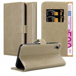 Cadorabo Hülle für HTC Desire 10 Lifestyle / Desire 825 in CAPPUCCINO BRAUN ? Handyhülle mit Magnetverschluss, Standfunktion und Kartenfach ? Case Cover Schutzhülle Etui Tasche Book Klapp Style