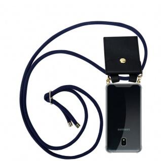 Cadorabo Handy Kette für Samsung Galaxy J3 2018 in TIEF BLAU - Silikon Necklace Umhänge Hülle mit Gold Ringen, Kordel Band Schnur und abnehmbarem Etui ? Schutzhülle
