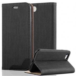 Cadorabo Hülle für Apple iPhone 7 / iPhone 7S / iPhone 8 - Hülle in EBENHOLZ SCHWARZ ? Handyhülle in Bast-Optik mit Kartenfach und Standfunktion - Case Cover Schutzhülle Etui Tasche Book Klapp Style
