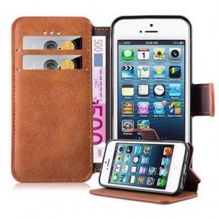 Cadorabo Hülle für Apple iPhone 5 / iPhone 5S / iPhone SE - Hülle in MATT BRAUN ? Handyhülle mit Standfunktion und Kartenfach im Retro Design - Case Cover Schutzhülle Etui Tasche Book Klapp Style