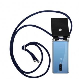 Cadorabo Handy Kette für Oneplus 8 in TIEF BLAU Silikon Necklace Umhänge Hülle mit Silber Ringen, Kordel Band Schnur und abnehmbarem Etui Schutzhülle