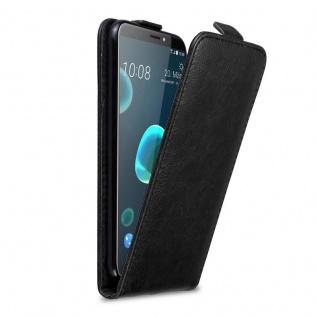 Cadorabo Hülle für HTC Desire 12 PLUS in NACHT SCHWARZ - Handyhülle im Flip Design mit Magnetverschluss - Case Cover Schutzhülle Etui Tasche Book Klapp Style