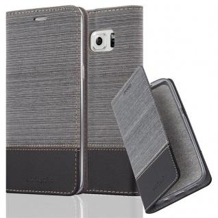 Cadorabo Hülle für Samsung Galaxy S6 EDGE PLUS in GRAU SCHWARZ - Handyhülle mit Magnetverschluss, Standfunktion und Kartenfach - Case Cover Schutzhülle Etui Tasche Book Klapp Style