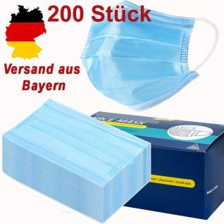 200x Einweg Maske 3-lagig Mund Nasen Abdeckung- Blau